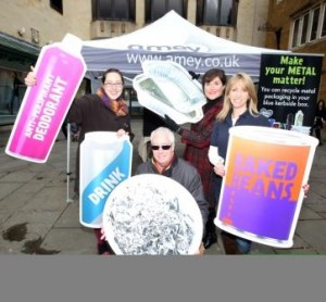 Metal Recycling: Northampton: Launch of campaign to get Northampton Borough residents to recycle even more metal - aerosols, metal containers, take-away trays, Saturday March 5, 2016